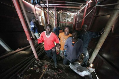 Miners at the Osiri-Matanda goldmines in Nyatike, Migori County. Dozens of miners have been buried alive in mines.