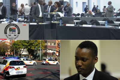 Top: Journalists and officials at the Zondo Commission of Inquiry. Bottom-left: Hawks unit vehicles. Bottom-right: Duduzane Zuma.