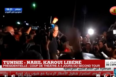 Tunisian presidential candidate and media mogul Nabil Karoui leaves prison on October 9, 2019.