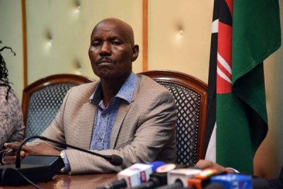 Kenyan Ambassador to the Federal Republic of Somalia Lucas Tumbo attends a media briefing in Nairobi (file photo).