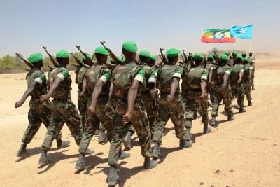 Les soldats de la paix des Forces de défense nationale éthiopienne.