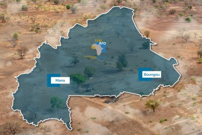 A map on the Semafo website showing the location of the Boungou mine.