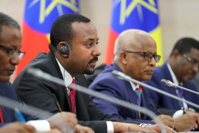 Ethiopia's Prime Minister Abiy Ahmed, second left, during a meeting with Russia's President Vladimir Putin on the sidelines of the 2019 Russia-Africa Summit at the Sirius Park of Science and Art in Sochi, Russia, 23 October 2019.