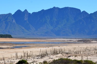 Theewaterskloof Dam, located on the Sonderend River and the largest source of water for Cape Town, during the height of the 'Day Zero' water crisis (file photo).