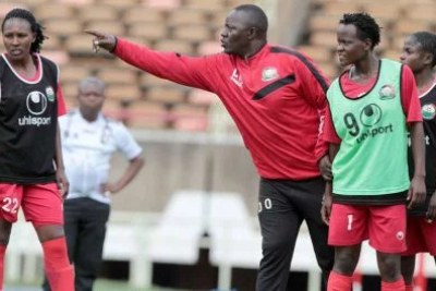 Kenya's women's national team coach, David Ouma, gives instructions to his players during a past training session in Nairobi.