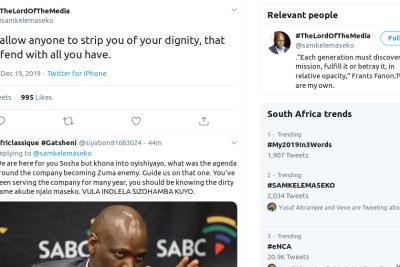 Screenshot of a tweet by Samkele Maseko.