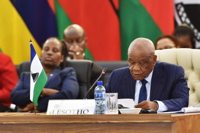 Prime Minister Tom Thabane of Lesotho reads a statement during the Southern African Development Community Solidarity Conference in 2014.