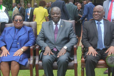 From left, Zimbabwe Anti-Corruption Commission Chairperson Justice Loice Matanda-Moyo, head of Anti-Corruption division of the High Court of Uganda Justice Lawrence Gigudu and Zimbabwe Chief Justice Luke Malaba.