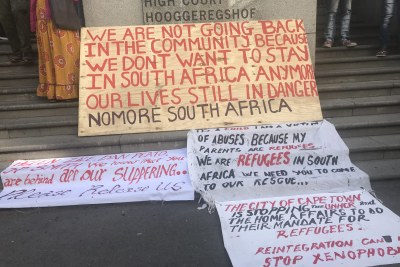 Refugees protesting in Cape Town's city centre want to be resettled (not South Africa or their countries of origin).