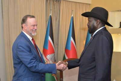 U.S Assistant Secretary of State Tibor Nagy and President Salva Kiir at State House in Juba on January 24, 2020.