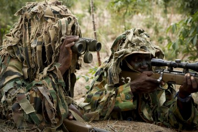 Nigerian snipers conduct a demonstration during the African Land Forces Summit in Abuja, Nigeria on April 17, 2018.