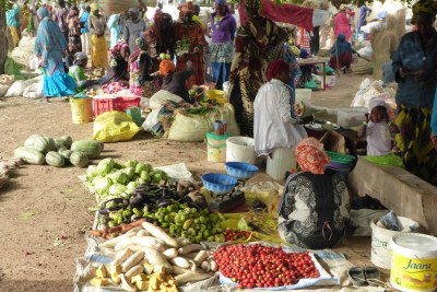 Women working in a market in Senegal.