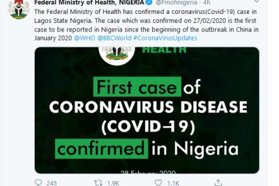 The tweet in which Nigeria's federal health ministry announced the country's first coronavirus case.