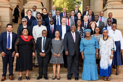 President Cyril Ramaphosa joins Ministers and members of the Presidential Economic Advisory Council at the Union Buildings in Pretoria, following a meeting to tackle the country's economic and development challenges.