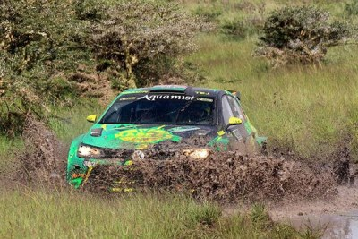 Tavjeer Rai, navigated by Gavin Laurence, tackles a wet section in Kajiado in a Volkswagen Polo during the Guru Nanak Rally in February (file photo).