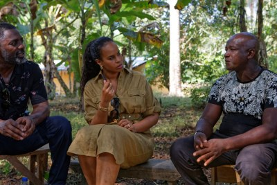 British actor Idris Elba (left) and his wife Sabrina Elba visited Sierra Leone with the UN's International Fund for Agricultural Development (IFAD).