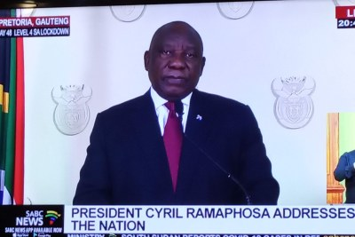 President Cyril Ramaphosa gives a televised address about the COVID-19 lockdown.