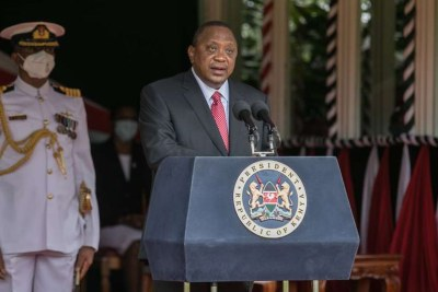 President Uhuru Kenyatta addresses the nation during the 57th Madaraka Day Celebrations at State House.
