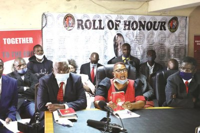 MDC-T acting president Thokozani Khupe (second from right) addresses the media flanked by seniors members of her party (from left) Messrs Douglas Mwonzora, Elias Mudzuri and Morgan Komichi at Morgan Tsvangirai House in Harare.