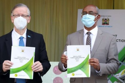 Health Chief Administrative Secretary Rashid Aman (right) and World Health Organization representative for Kenya Dr Rudi Eggers during the launch of Kenya Latent Tuberculosis Infection Policy 2020 in Nairobi.