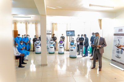 Robots in Kanyinya Covid-19 Treatment Center (file photo).