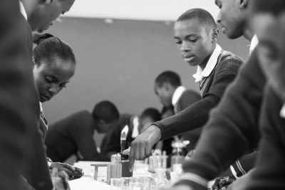 Students during science class in Nairobi, Kenya, as part of a Mastercard Foundation partnership with Global E-Schools and Communities Initiative to improve student learning in science, math, and English.