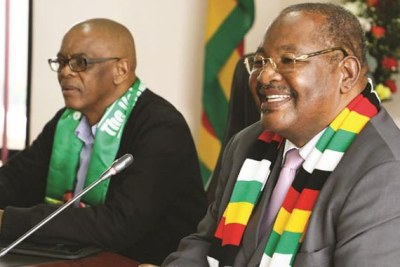 Zanu-PF Secretary for Administration Obert Mpofu (right) and ANC Secretary-General Ace Magashule.