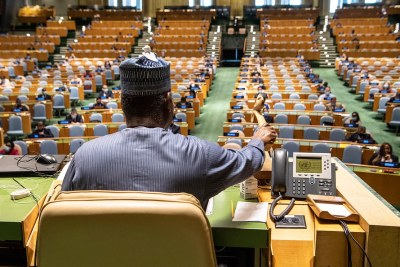 H.E. Mr. Tijjani Muhammad-Bande, Nigeria's Permanent Representative to the United Nations, presiding as president of the UN General Assembly. His one-year term ended in September 2020.