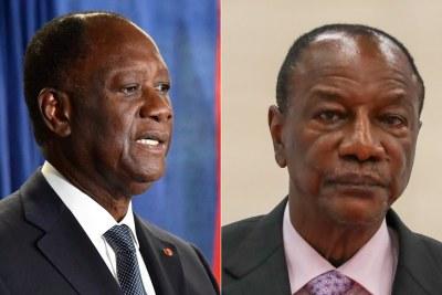Le président de la Côte d'Ivoire Alassane Ouattara, à gauche, et le président de la Guinée Alpha Condé qui briguent un troisième mandat, source d'instabilité dans leurs pays. Photos: Département d'État américain / Flickr et Anton Novoderezhkin / Agence photo hôte TASS.