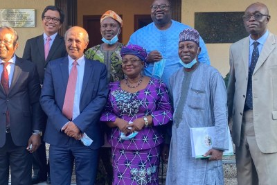 Ngozi Okonlo-Iweala campaigning for World Trade Organization DG with Ecowas Ambassadors, Tunde Mustapha and Adamu Abdulhamid of Nigeria, Yusupha Kah of Gambia and Lansana Gberie of Sierra Leone at the Indonesian mission with Ambassador Hasan Kleib and his colleagues.