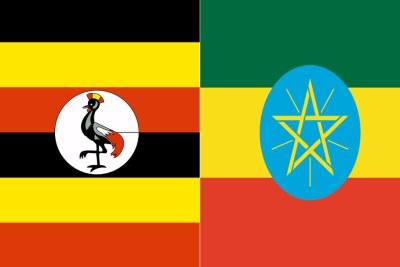 Les drapeaux Ougandais et Ethiopien
