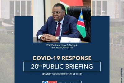 Presidential Covid-19 Briefing in Namibia