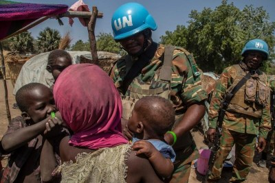 Zambian peacekeepers from the UN mission, MINUSCA, on patrol in the Central African Republic.
