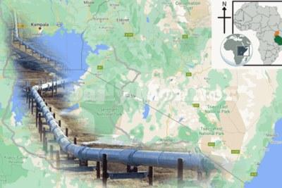 The oil pipeline route from Hoima, Uganda, to Tanga, Tanzania.
