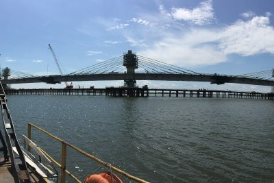 The Kazungula bridge under construction in January 2020.