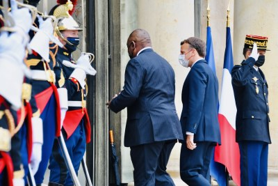 South African President Cyril Ramaphosa arrives at the Élysée Palace for a bilateral meeting with His Excellency President Emmanuel Macron ahead of the Summit for the Financing of African Economies in Paris, France on May 18, 2021.