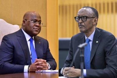 Président de la RDC, Felix Tshisekedi (g) et Le Président du Rwanda Paul Kagamé (d)