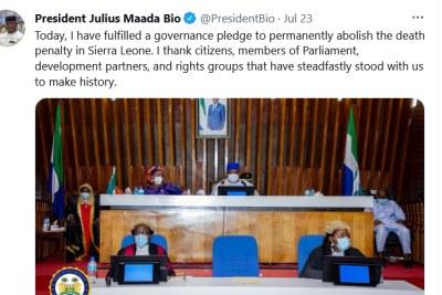 Sierra Leone president Julius Maada Bio tweets about a bill abolishing the death penalty, July 23, 2021.