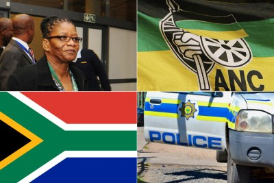 Thandi Modise, minister of defence and miltary veterans, African National Congress flag, South African flag, South African Police Services